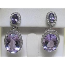 10.63 CT Amethyst & .44 CT Diamonds 14K WG Earrings
