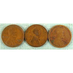 3 Early Date D Mint Wheat Cents -1912, 1913, 1932