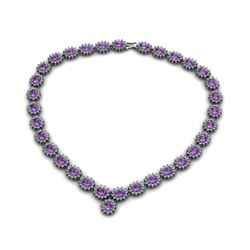 Amethyst 48.90 ctw Diamond Necklace 14kt White Gold