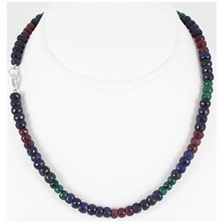 217.72ctw Natural Multi-Color Rondelles Necklace