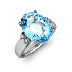 Aqua Marine 6.75 ctw & Diamond Ring 14kt White Gold