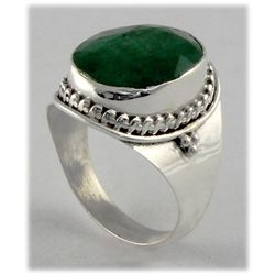 32.15ct Natural Faceted Oval Emerald Silver Ring