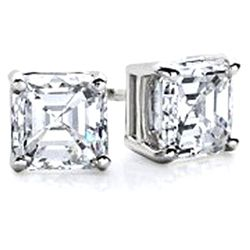 1.25 ctw Princess cut Diamond Stud Earrings G-H, VS