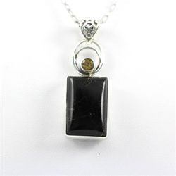 Sterling Silver Pendant Black Onyx Gemstones