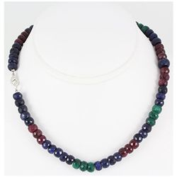 305.19ctw Natural Multi-Color Rondelles Necklace