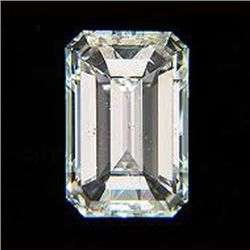 EGL Certified Diamond Emerald 0.70ctw D,SI1