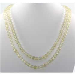 454.5ctw 2Row Lemon Topaz Beads Silver Necklace