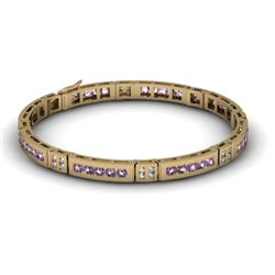 Amethyst 2.56 ctw & Diamond Bracelet 14kt W OR Y Gold