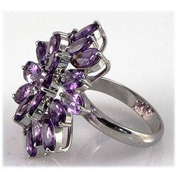 Amethyst 21.25 ctw Flower Design Ring 0.925 Silver