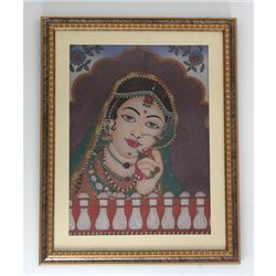 24 1/2  x 30 1/2  Indian Princess Gemstone Painting