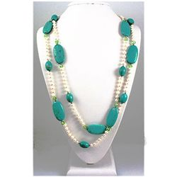 1025.50ct Pretty Turquiose and FreshWater Pearls Neckla