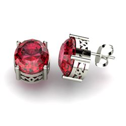 Garnet 5.60ctw Earring 14kt White Gold