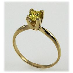 Genu. 0.51 ct Solitaire Ring Princess Fancy Yellow, SI1