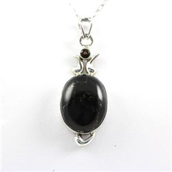 36.ctw Black Onyx Gemstone Silver Pendant