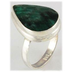 38.21ct Natural Pear Emerald Sterling Silver Ring