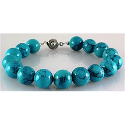 155.62ctw Philippine Coral Stone (Trqz) Round Bracelet