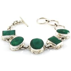 153.5ctw Antique Design Silver Emerald Bracelet