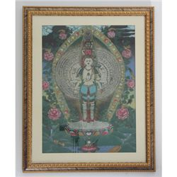 "24 1/2"" x 30 1/2"" Many Heads Buddha Gemstone Painting"