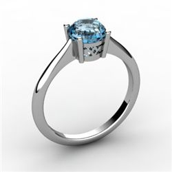 Aqua Marine 0.75 ctw Ring 14kt White Gold