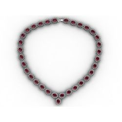 Garnet 53.85 ctw Diamond Necklace 14kt White Gold