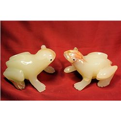 Original Hand Carved Marble  Frogs  by G. Huerta