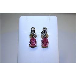 Fancy Style 14kt White Gold Pink Spinel &amp; Diamond Earrings