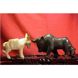 Original Hand Carved Marble  Bull & Donkey  by G. Huerta