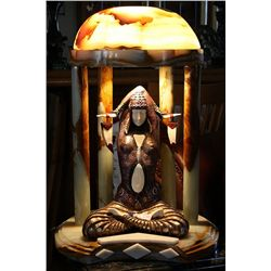 Illuminated Temple Goddess - Bronze and Ivory Sculpture by Chiparus