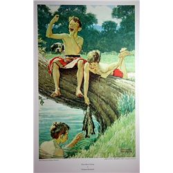 Collotype Lithograph  Three Boys Fishing  by artist Norman Rockwell