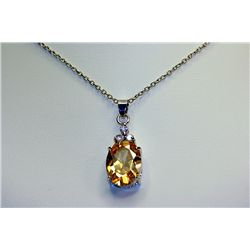 Lady's Beautiful Sterling Diamond &amp; Almandine Garnet Necklace