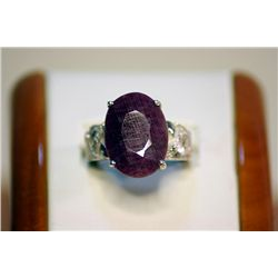 Unisex Fancy Silver Pigeon Blood Ruby Ring