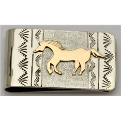 Navajo 12k Gold Filled Sterling Silver Horse Money Clip - Roger Jones