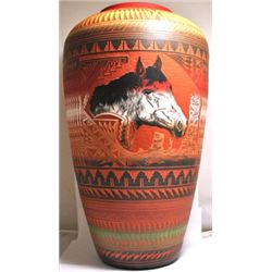 Navajo Horse Head Etched Pottery - Ernie Watchman