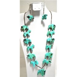 Zuni Turquoise Buffalo & Horse Fetishes Necklace & Earrings Set - Calvin Etsaty