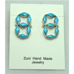 Zuni Turquoise Figure 8 Earrings
