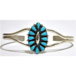 Zuni Turquoise Needlepoint Cluster Sterling Silver Cuff Bracelet - MFC