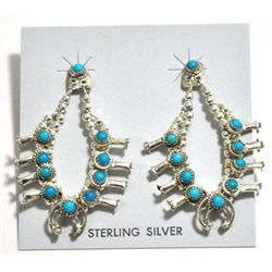 Navajo Turquoise Sterling Silver Squash Blossom Post Earrings