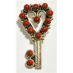 Navajo Coral Heart-Shaped Key Sterling Silver Pendant - MCA