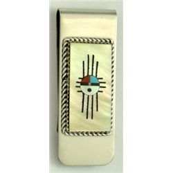 Zuni Multi-Stone Gold Tone Sun Design Money Clip - Hustito