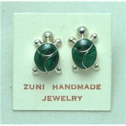 Zuni Malachite Turtle Earrings