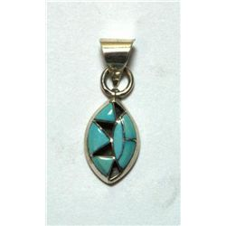 Zuni Turquoise Sharp Oval Small Pendant