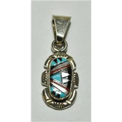 Zuni Multi-Stone Small Oval Pendant