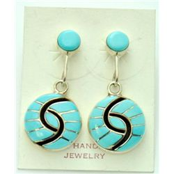 Zuni Turquoise Small Circle Earrings - Amy Quandelacy