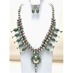 Navajo Green Turquoise Sterling Silver Squash Blossom Necklace & Earrings Set - L.F.K.