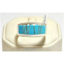Navajo Turquoise Inlay Sterling Silver Men's Ring - Calvin Begay