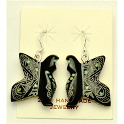 Zuni Black Marble Butterfly Earrings - Dilbert Gasper