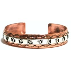 Navajo Sterling Silver over Copper Bear Paw Cuff Bracelet - Scott Skeets