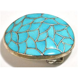 Zuni Turquoise Inlay Sterling Silver Buckle - ML