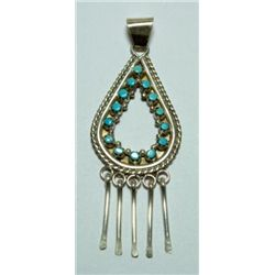 Zuni Turquoise Hollow Teardrop with 5 Hangers Pendant