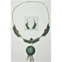 Navajo Turquoise Sterling Silver Necklace & Earrings Set - Violet Begay